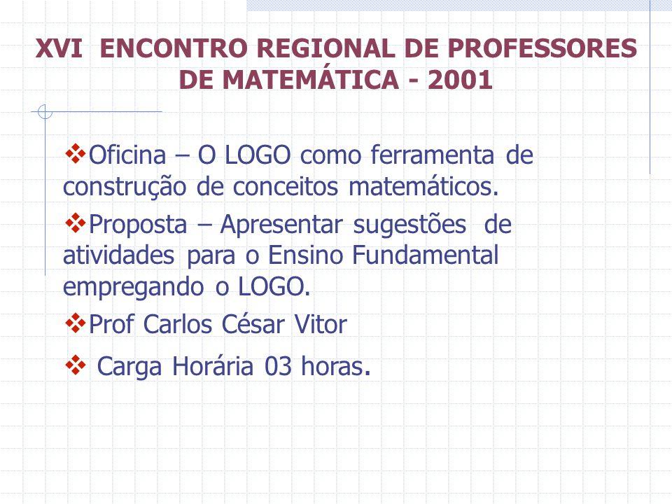 XVI ENCONTRO REGIONAL DE PROFESSORES DE MATEMÁTICA - 2001 Oficina – O LOGO como ferramenta de construção de conceitos matemáticos. Proposta – Apresent
