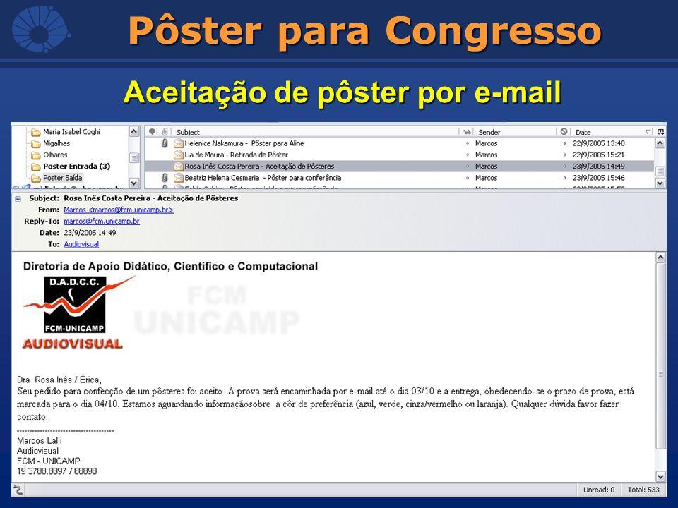 Pôster para Congresso Aceitação de pôster por e-mail