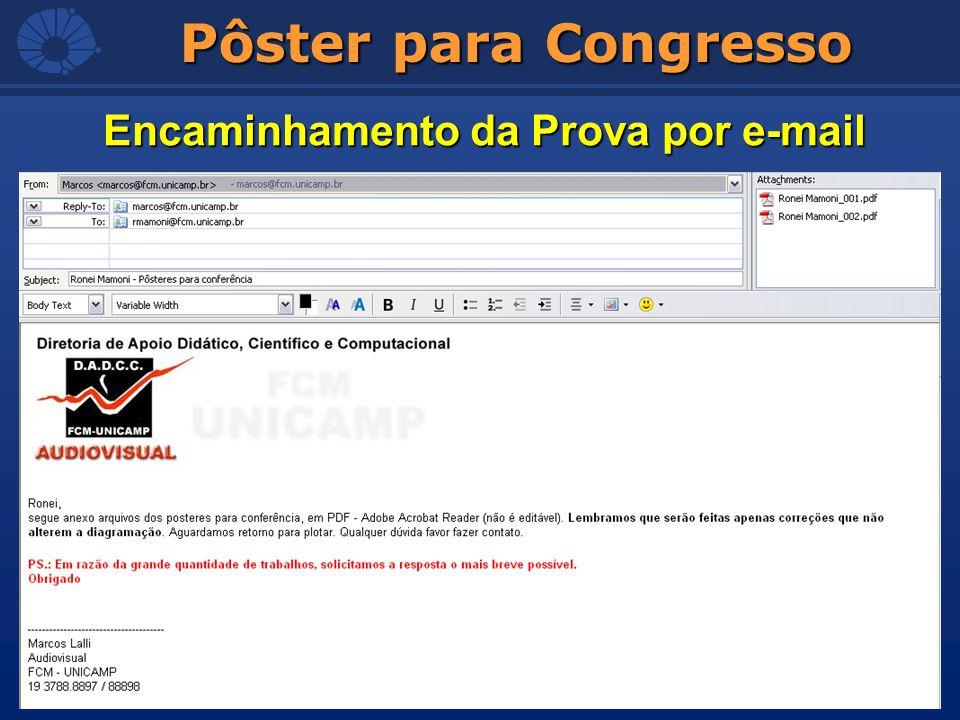 Pôster para Congresso Encaminhamento da Prova por e-mail