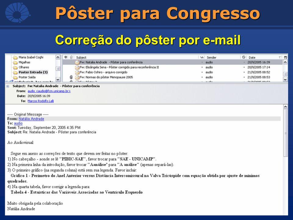 Pôster para Congresso Correção do pôster por e-mail