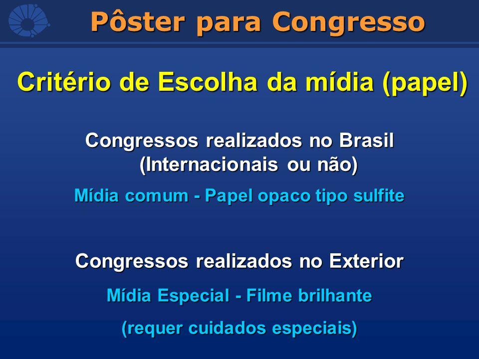 Congressos realizados no Brasil (Internacionais ou não) Critério de Escolha da mídia (papel) Mídia comum - Papel opaco tipo sulfite Congressos realiza
