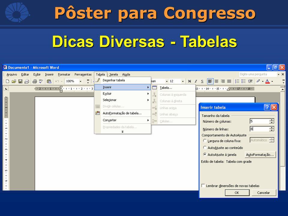 Pôster para Congresso Dicas Diversas - Tabelas