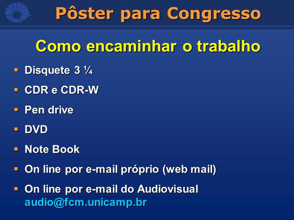 Pôster para Congresso Disquete 3 ¼ Disquete 3 ¼ CDR e CDR-W CDR e CDR-W Pen drive Pen drive DVD DVD Note Book Note Book On line por e-mail próprio (we