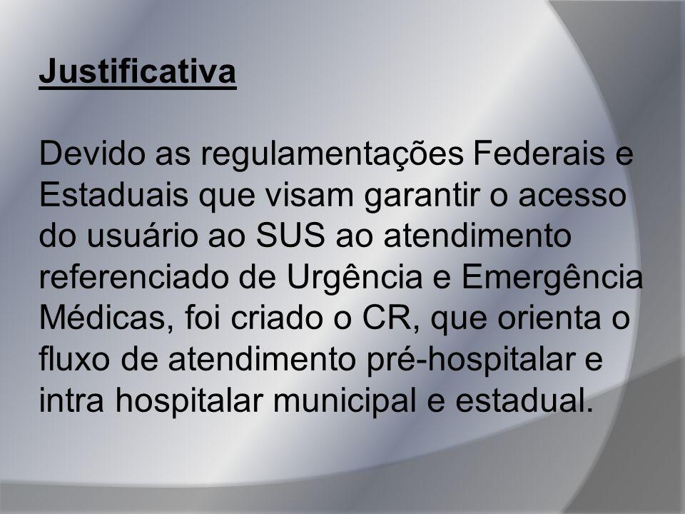 Justificativa Devido as regulamentações Federais e Estaduais que visam garantir o acesso do usuário ao SUS ao atendimento referenciado de Urgência e E