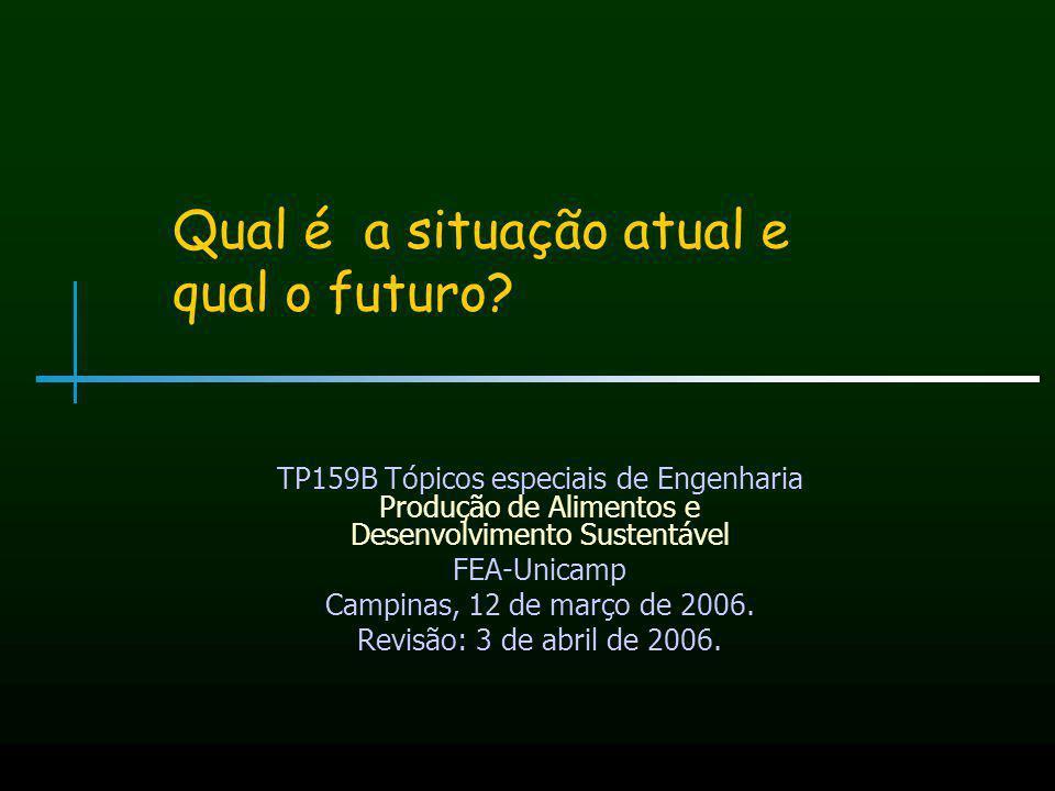 Qual é a situação atual e qual o futuro? TP159B Tópicos especiais de Engenharia Produção de Alimentos e Desenvolvimento Sustentável FEA-Unicamp Campin
