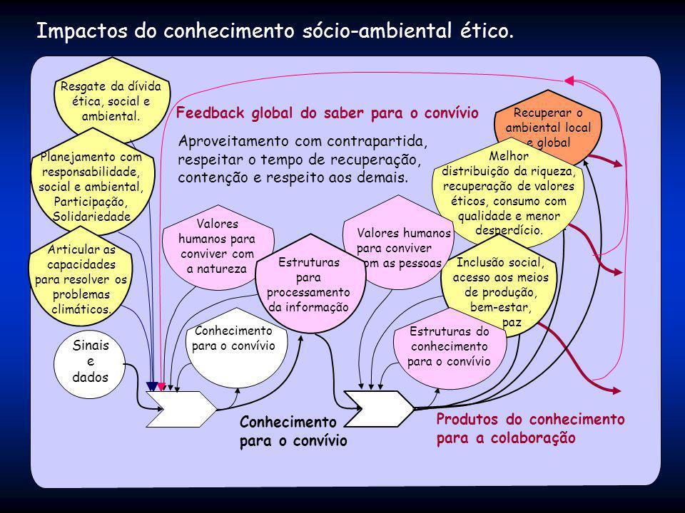 Impactos do conhecimento sócio-ambiental ético. Produtos do conhecimento para a colaboração Recuperar o ambiental local e global Sinais e dados Conhec