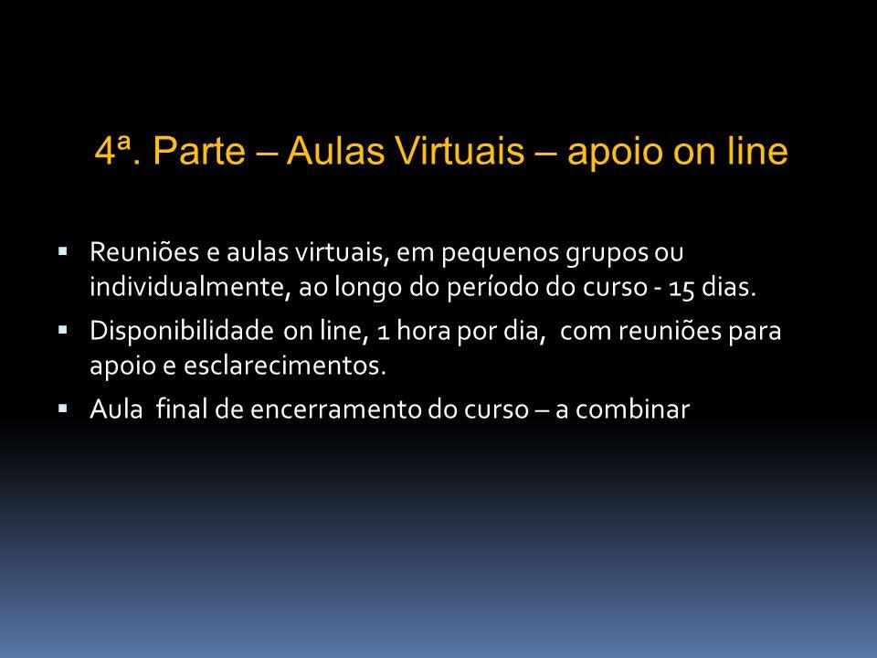 Reuniões e aulas virtuais, em pequenos grupos ou individualmente, ao longo do período do curso - 15 dias.