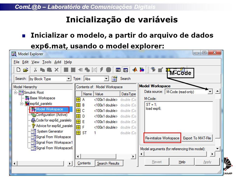 ComL@b – Laboratório de Comunicações Digitais Inicialização de variáveis Inicializar o modelo, a partir do arquivo de dados exp6.mat, usando o model explorer: M-Code