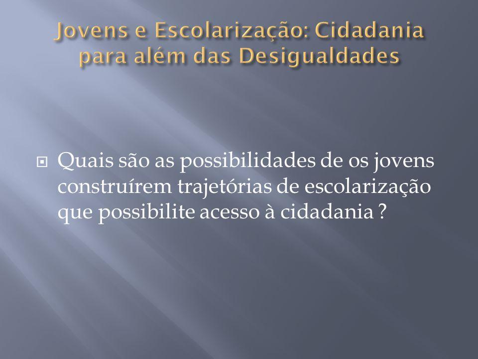Aprendizagem Profissionalização Diploma Socialização Contradição: Não cidadania