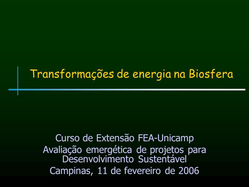 Transformações de energia na Biosfera Curso de Extensão FEA-Unicamp Avaliação emergética de projetos para Desenvolvimento Sustentável Campinas, 11 de