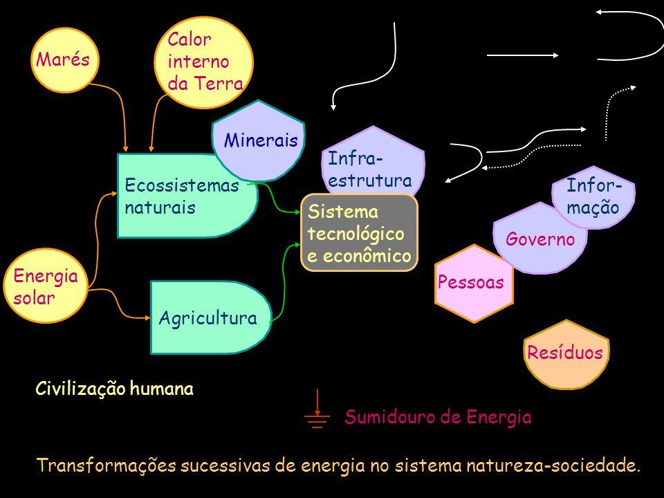 Sumidouro de Energia Civilização humana Transformações sucessivas de energia no sistema natureza-sociedade. Agricultura Ecossistemas naturais Infra- e