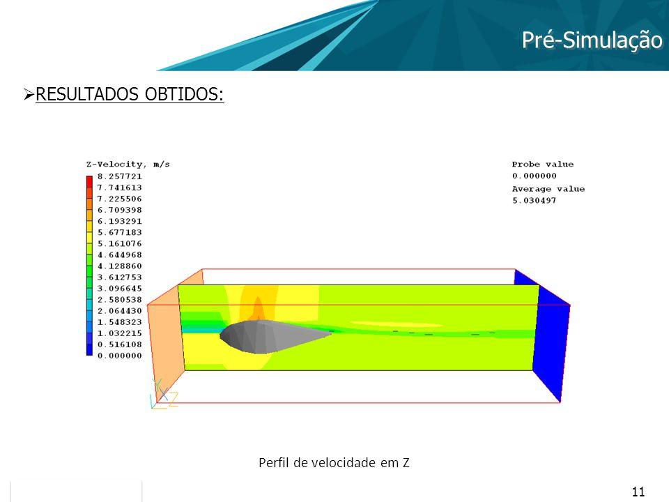 11 Pré-Simulação RESULTADOS OBTIDOS: Perfil de velocidade em Z