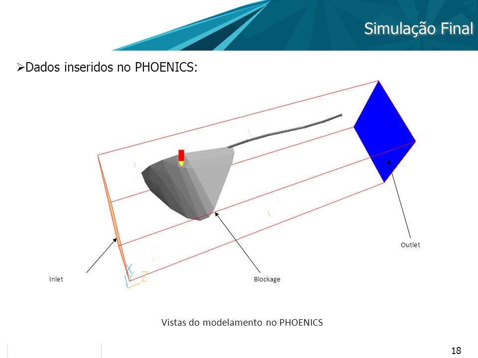 18 Simulação Final Dados inseridos no PHOENICS: Vistas do modelamento no PHOENICS InletBlockage Outlet
