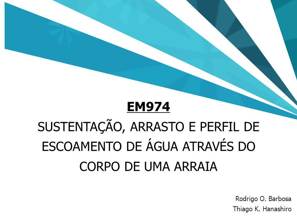 27 EM974 SUSTENTAÇÃO, ARRASTO E PERFIL DE ESCOAMENTO DE ÁGUA ATRAVÉS DO CORPO DE UMA ARRAIA Rodrigo O. Barbosa Thiago K. Hanashiro