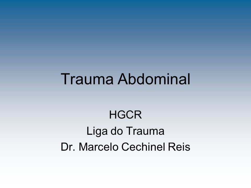 Conclusão Objetividade no exame e condutas; Suspeita baseado na história do trauma e exame físico e sinais vitais (Mecanismo de lesão); A correta utilização dos métodos complementares diagnósticos (ECO, TC ou LPD) é fundamental para posterior tratamento.