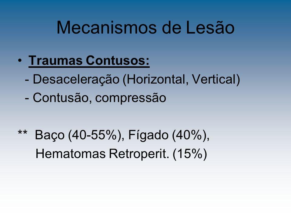 Mecanismos de Lesão Trauma Penetrante: - Arma Branca - Lesão localizada ** Fígado (40%) Intestino delgado (30%) - Arma de fogo – Alta energia, L.