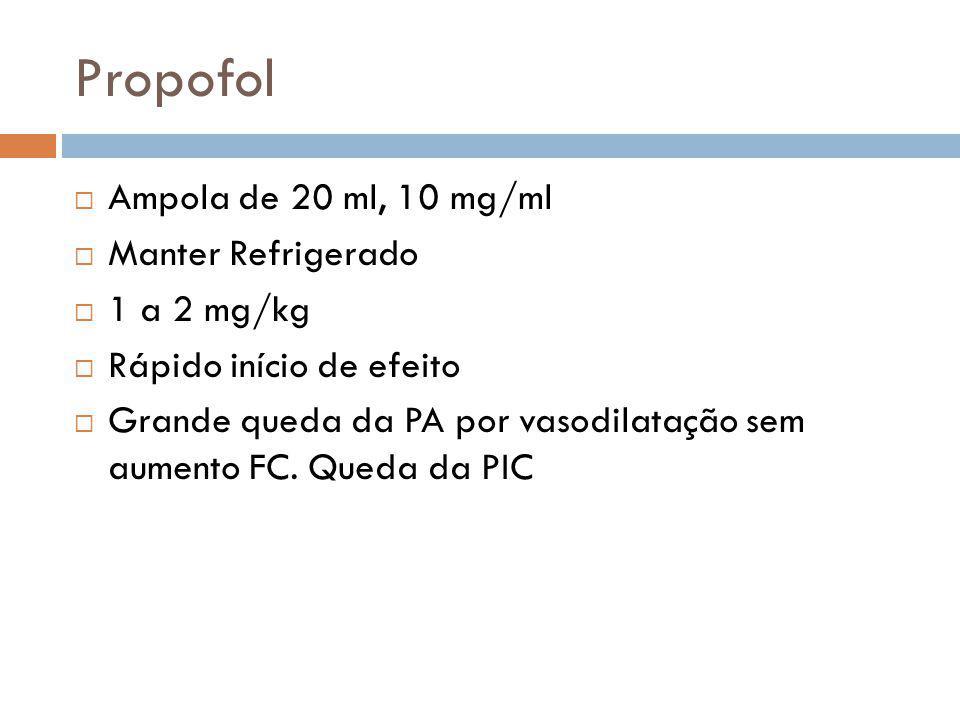 Propofol Ampola de 20 ml, 10 mg/ml Manter Refrigerado 1 a 2 mg/kg Rápido início de efeito Grande queda da PA por vasodilatação sem aumento FC. Queda d