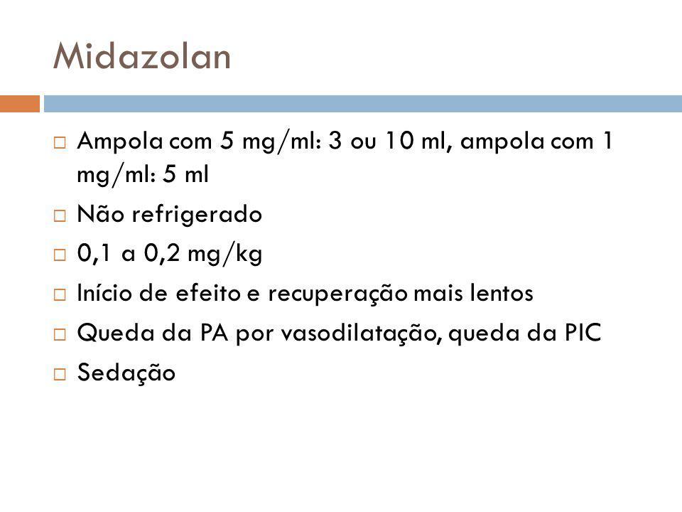 Midazolan Ampola com 5 mg/ml: 3 ou 10 ml, ampola com 1 mg/ml: 5 ml Não refrigerado 0,1 a 0,2 mg/kg Início de efeito e recuperação mais lentos Queda da