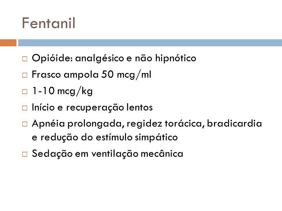 Fentanil Opióide: analgésico e não hipnótico Frasco ampola 50 mcg/ml 1-10 mcg/kg Início e recuperação lentos Apnéia prolongada, regidez torácica, brad