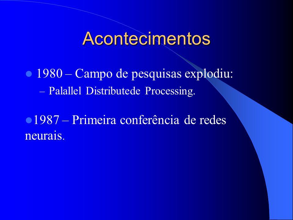 Acontecimentos 1980 – Campo de pesquisas explodiu: – Palallel Distributede Processing. 1987 – Primeira conferência de redes neurais.