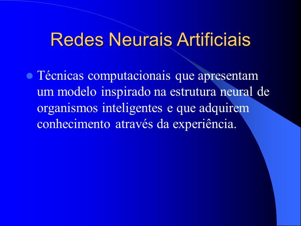 Redes Neurais Artificiais Técnicas computacionais que apresentam um modelo inspirado na estrutura neural de organismos inteligentes e que adquirem con