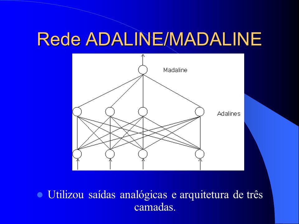 Rede ADALINE/MADALINE Utilizou saídas analógicas e arquitetura de três camadas.