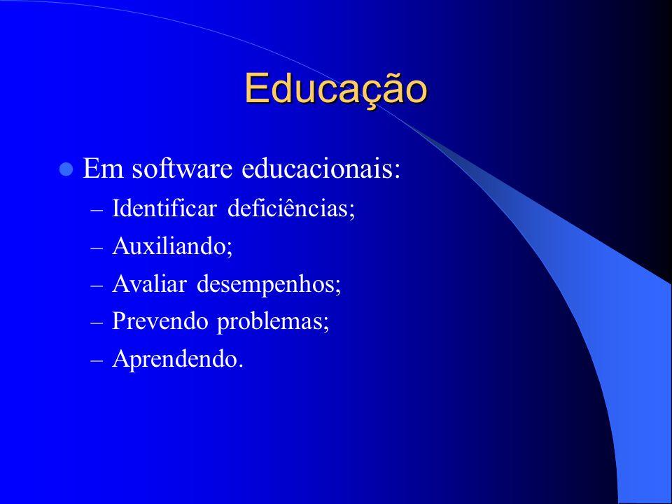 Educação Em software educacionais: – Identificar deficiências; – Auxiliando; – Avaliar desempenhos; – Prevendo problemas; – Aprendendo.
