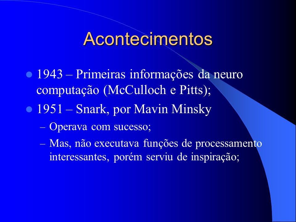 Acontecimentos 1943 – Primeiras informações da neuro computação (McCulloch e Pitts); 1951 – Snark, por Mavin Minsky – Operava com sucesso; – Mas, não executava funções de processamento interessantes, porém serviu de inspiração;