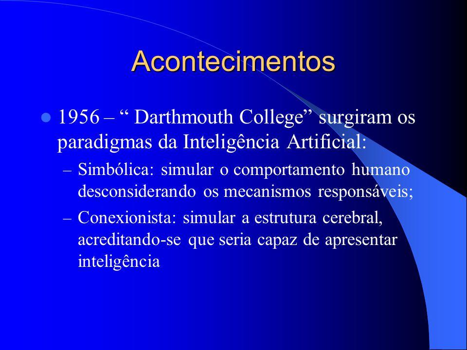 Acontecimentos 1956 – Darthmouth College surgiram os paradigmas da Inteligência Artificial: – Simbólica: simular o comportamento humano desconsiderando os mecanismos responsáveis; – Conexionista: simular a estrutura cerebral, acreditando-se que seria capaz de apresentar inteligência