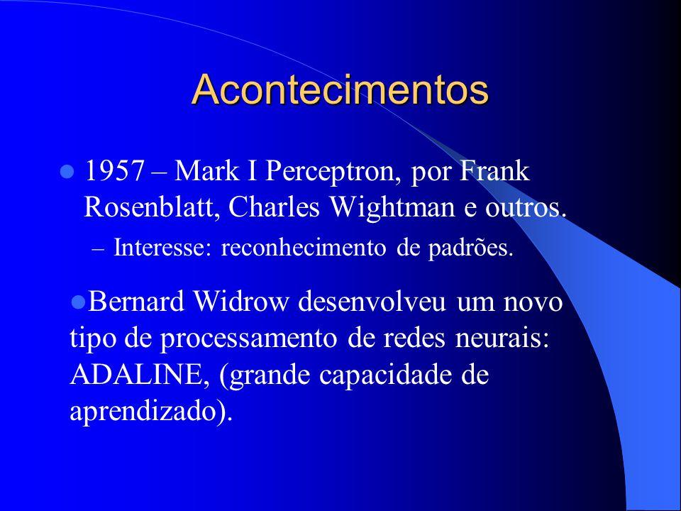 Acontecimentos 1957 – Mark I Perceptron, por Frank Rosenblatt, Charles Wightman e outros. – Interesse: reconhecimento de padrões. Bernard Widrow desen