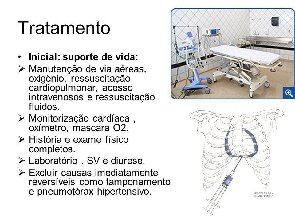 Tratamento Inicial: suporte de vida: Manutenção de via aéreas, oxigênio, ressuscitação cardiopulmonar, acesso intravenosos e ressuscitação fluidos.