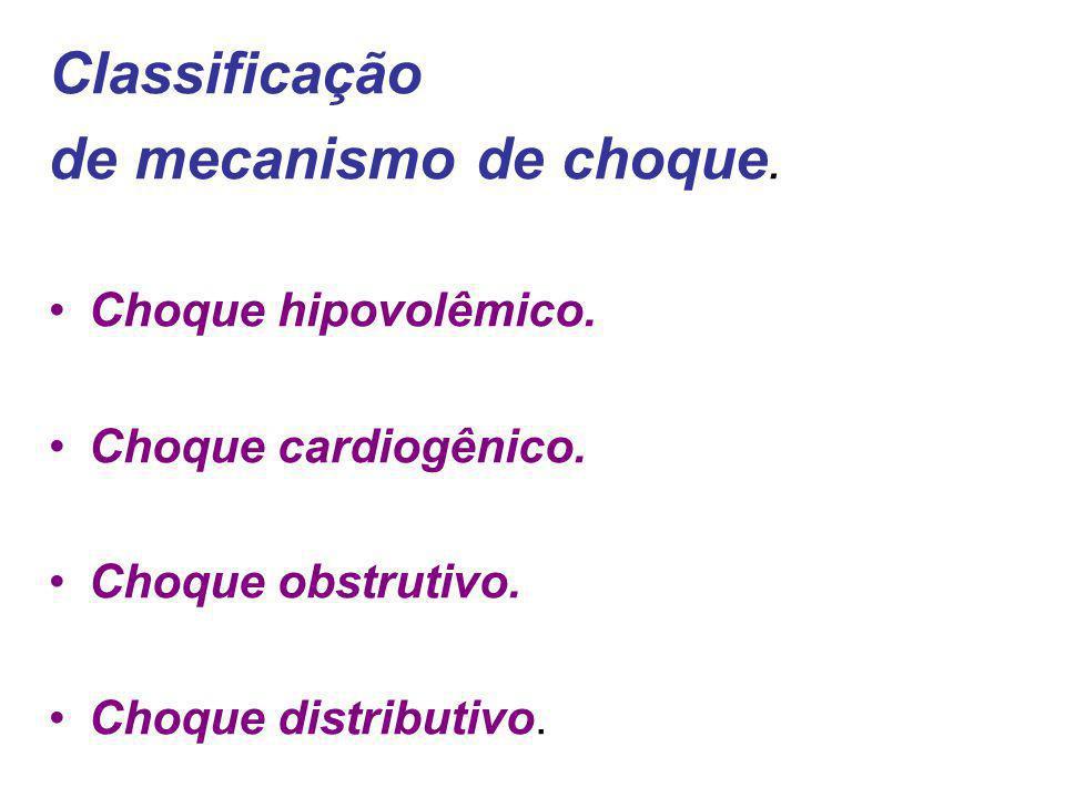 Diagnóstico de Choque Exame Físico: fáscies, neurológico, pulso, auscuta, Exame Físico: fáscies, neurológico, pulso, auscuta, SV: FC > 100 PAs 22 Débito urinário: 100 PAs 22 Débito urinário:< 30 ml/h Lab: BE 4mM Lab: BE 4mM AG= Na+ – ( Cl- + HCO 3- ) > 15 AG= Na+ – ( Cl- + HCO 3- ) > 15