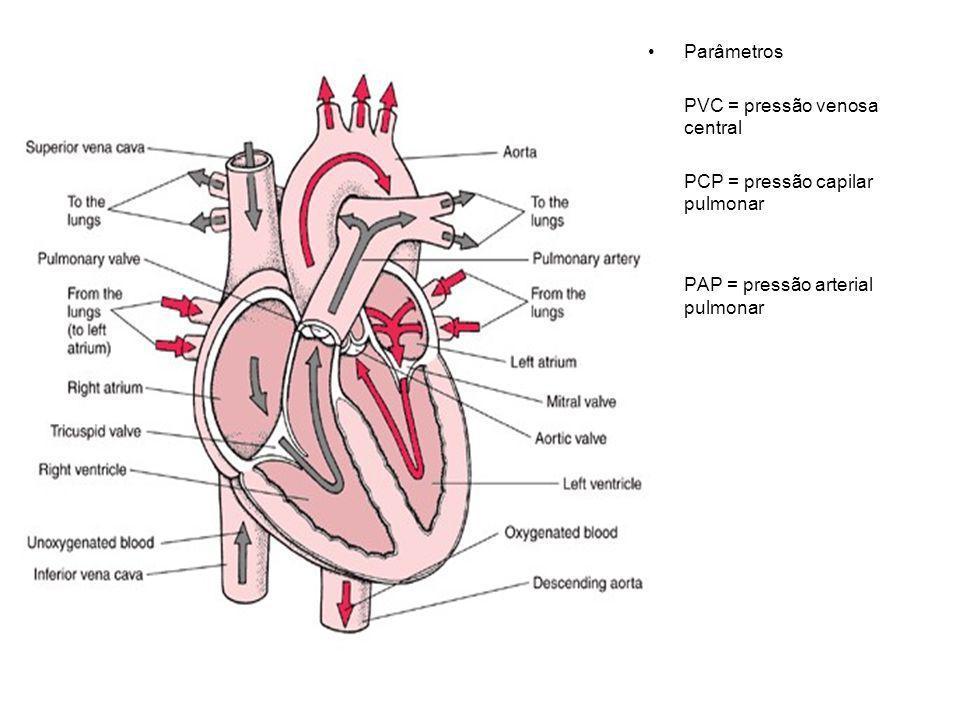 Parâmetros PVC = pressão venosa central PCP = pressão capilar pulmonar PAP = pressão arterial pulmonar