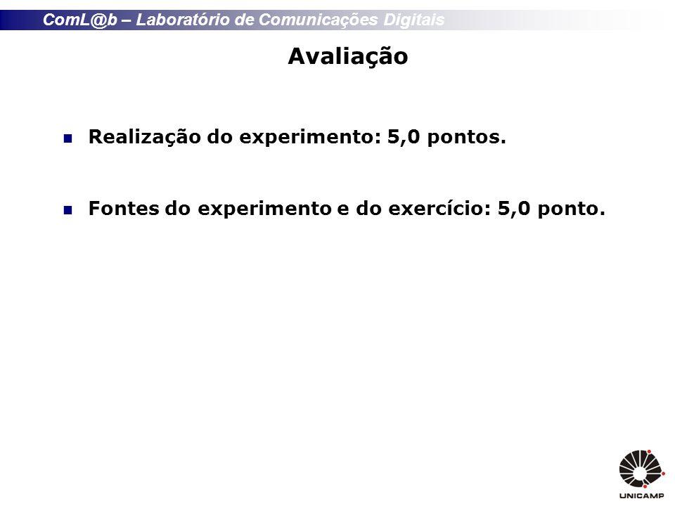 ComL@b – Laboratório de Comunicações Digitais Avaliação Realização do experimento: 5,0 pontos. Fontes do experimento e do exercício: 5,0 ponto.