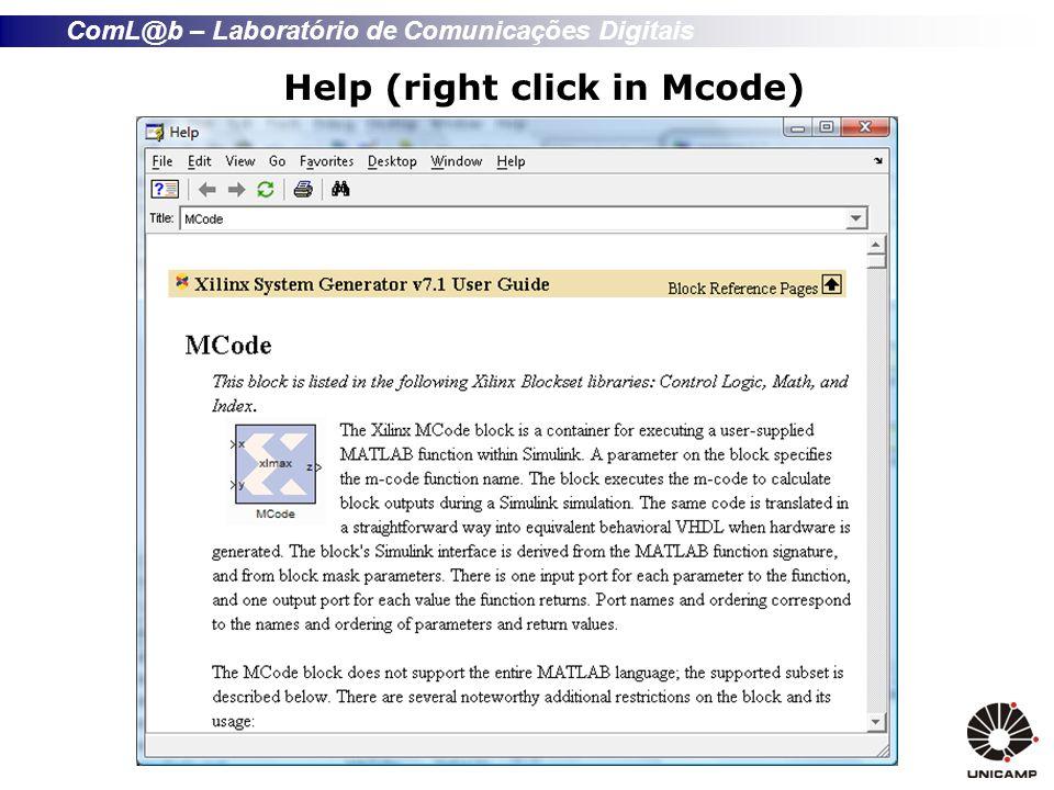 ComL@b – Laboratório de Comunicações Digitais Help (right click in Mcode)