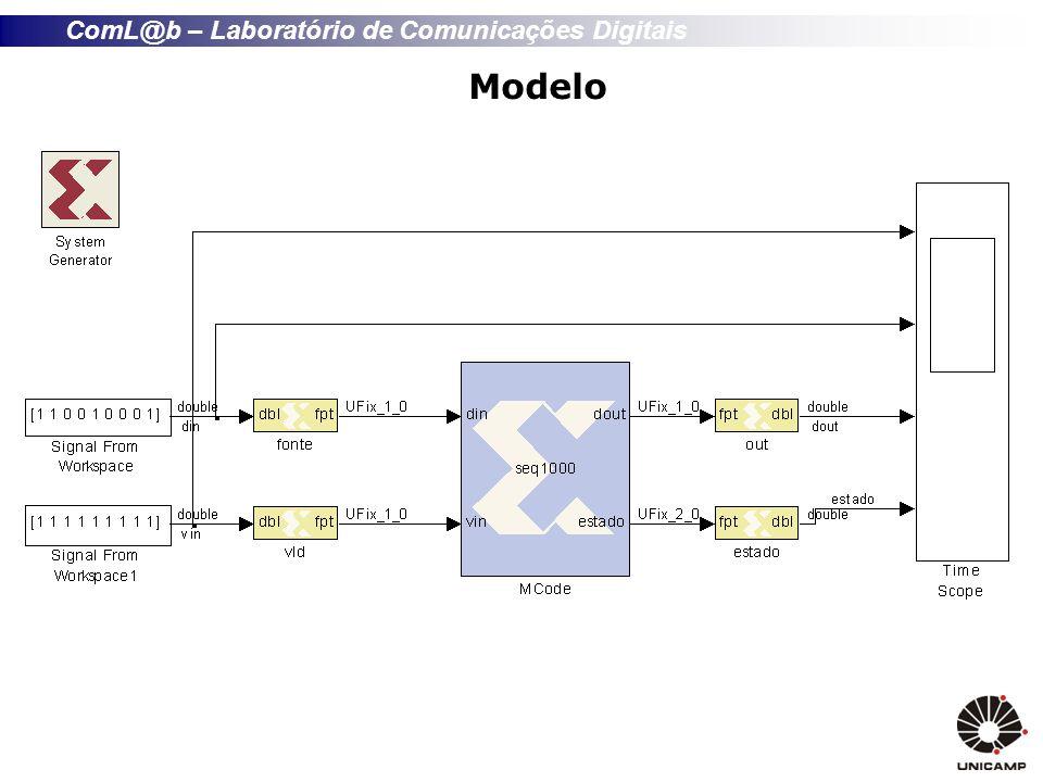 ComL@b – Laboratório de Comunicações Digitais Implementação Máquina de Estados function [dout, estado] = seqUDUD(Uin, Din) persistent next, next = xl_state(0, {xlUnsigned,2,0}); persistent reg_dout, reg_dout = xl_state(0, {xlUnsigned, 1, 0}); atual = next; estado = atual; if Uin == 1 | Din == 1............................................