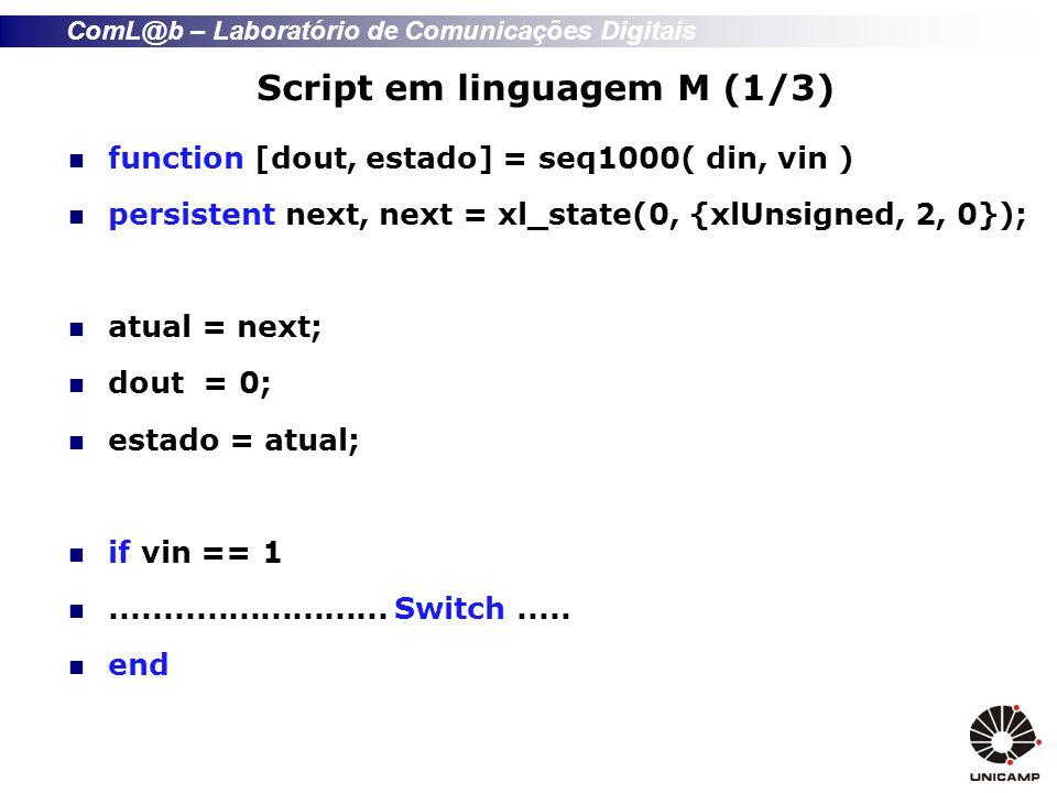 ComL@b – Laboratório de Comunicações Digitais Script (2/3) switch(atual) case 0; if din == 1 next = 1; end case 1; if din == 0 next = 2; end case 2; if din == 0 next = 3; else next = 1; end