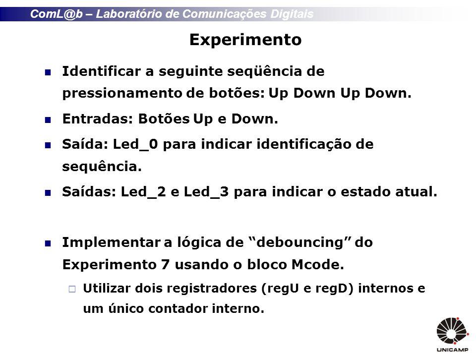 ComL@b – Laboratório de Comunicações Digitais Experimento Identificar a seguinte seqüência de pressionamento de botões: Up Down Up Down. Entradas: Bot