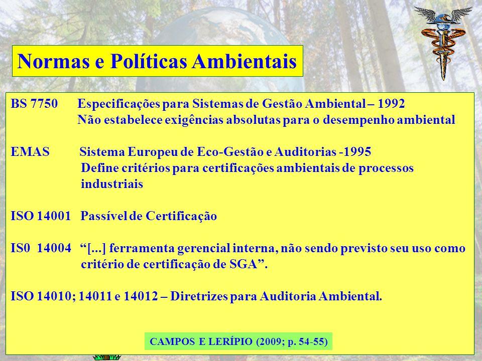 Normas e Políticas Ambientais Atualmente, existem diversas normas de gestão ambiental, tais como normas britânicas BS 7750 e BS 8555, o padrão da Uniã