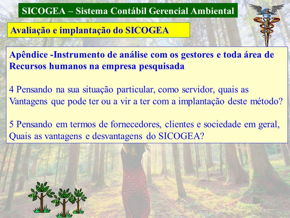 SICOGEA – Sistema Contábil Gerencial Ambiental Avaliação e implantação do SICOGEA Apêndice -Instrumento de análise com os gestores e toda área de Recu