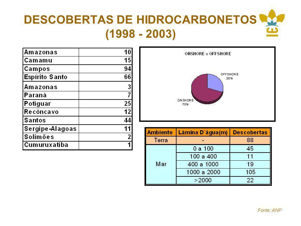 DESCOBERTAS DE HIDROCARBONETOS (1998 - 2003) Fonte: ANP