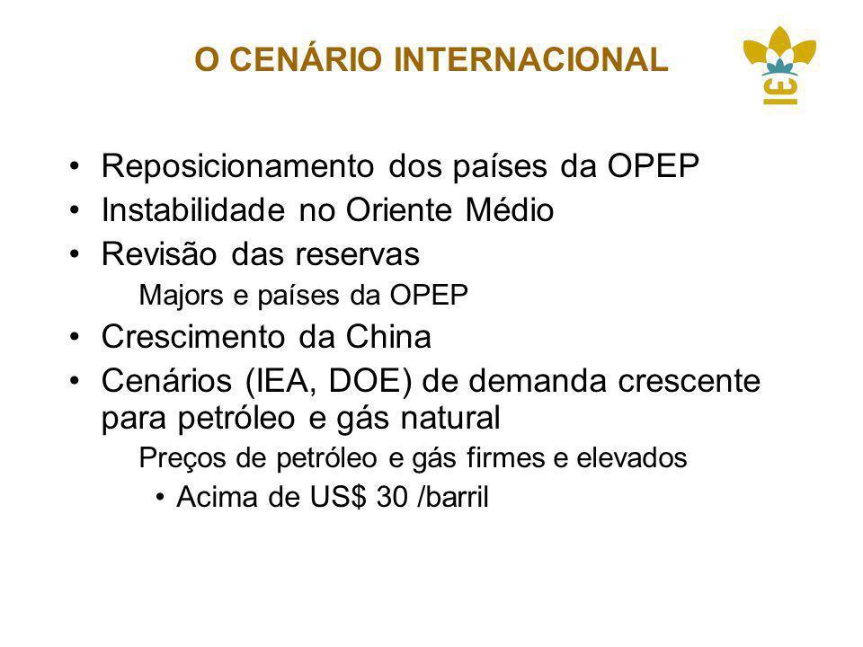 O CENÁRIO INTERNACIONAL Reposicionamento dos países da OPEP Instabilidade no Oriente Médio Revisão das reservas Majors e países da OPEP Crescimento da China Cenários (IEA, DOE) de demanda crescente para petróleo e gás natural Preços de petróleo e gás firmes e elevados Acima de US$ 30 /barril