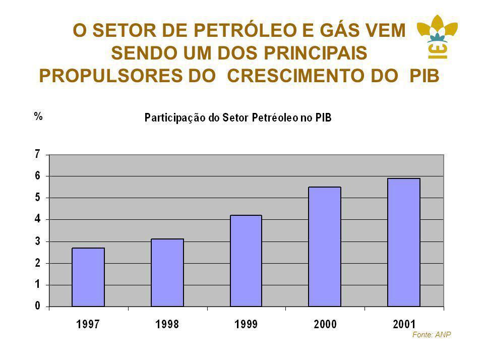 O SETOR DE PETRÓLEO E GÁS VEM SENDO UM DOS PRINCIPAIS PROPULSORES DO CRESCIMENTO DO PIB Fonte: ANP %