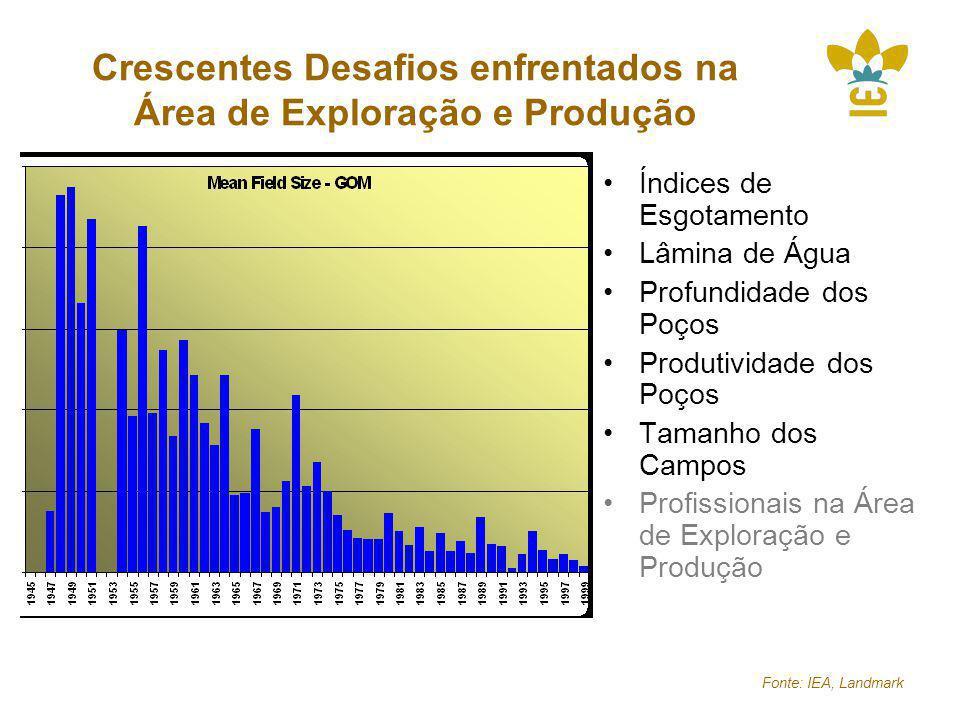 Fonte: IEA, Landmark Crescentes Desafios enfrentados na Área de Exploração e Produção Índices de Esgotamento Lâmina de Água Profundidade dos Poços Produtividade dos Poços Tamanho dos Campos Profissionais na Área de Exploração e Produção