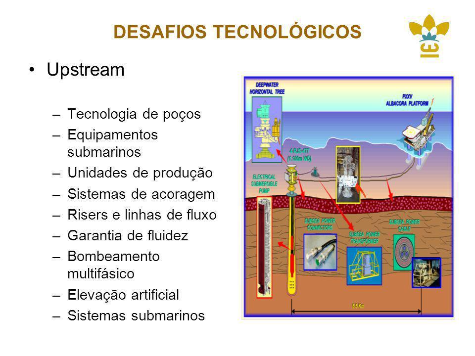 DESAFIOS TECNOLÓGICOS Upstream –Tecnologia de poços –Equipamentos submarinos –Unidades de produção –Sistemas de acoragem –Risers e linhas de fluxo –Garantia de fluidez –Bombeamento multifásico –Elevação artificial –Sistemas submarinos