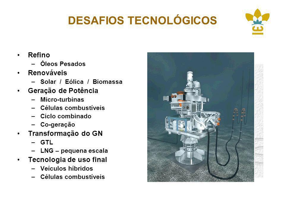 DESAFIOS TECNOLÓGICOS Refino –Óleos Pesados Renováveis –Solar / Eólica / Biomassa Geração de Potência –Micro-turbinas –Células combustíveis –Ciclo combinado –Co-geração Transformação do GN –GTL –LNG – pequena escala Tecnologia de uso final –Veículos híbridos –Células combustíveis