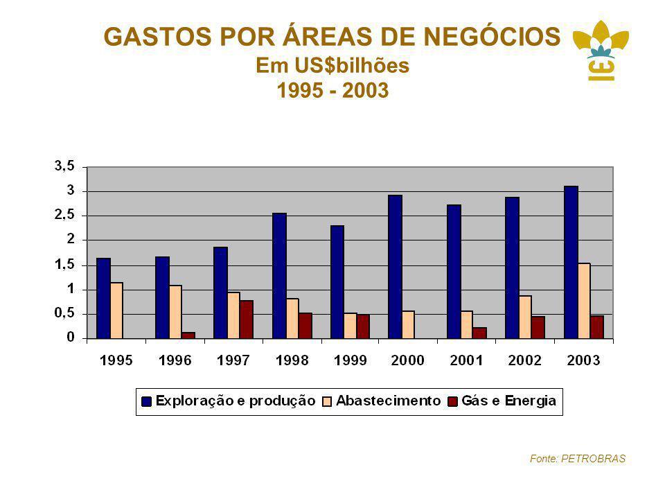 GASTOS POR ÁREAS DE NEGÓCIOS Em US$bilhões 1995 - 2003 Fonte: PETROBRAS
