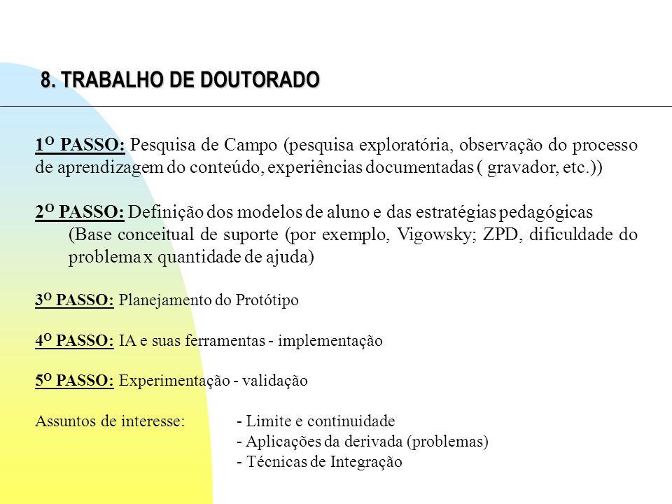 8. TRABALHO DE DOUTORADO 1 O PASSO: Pesquisa de Campo (pesquisa exploratória, observação do processo de aprendizagem do conteúdo, experiências documen