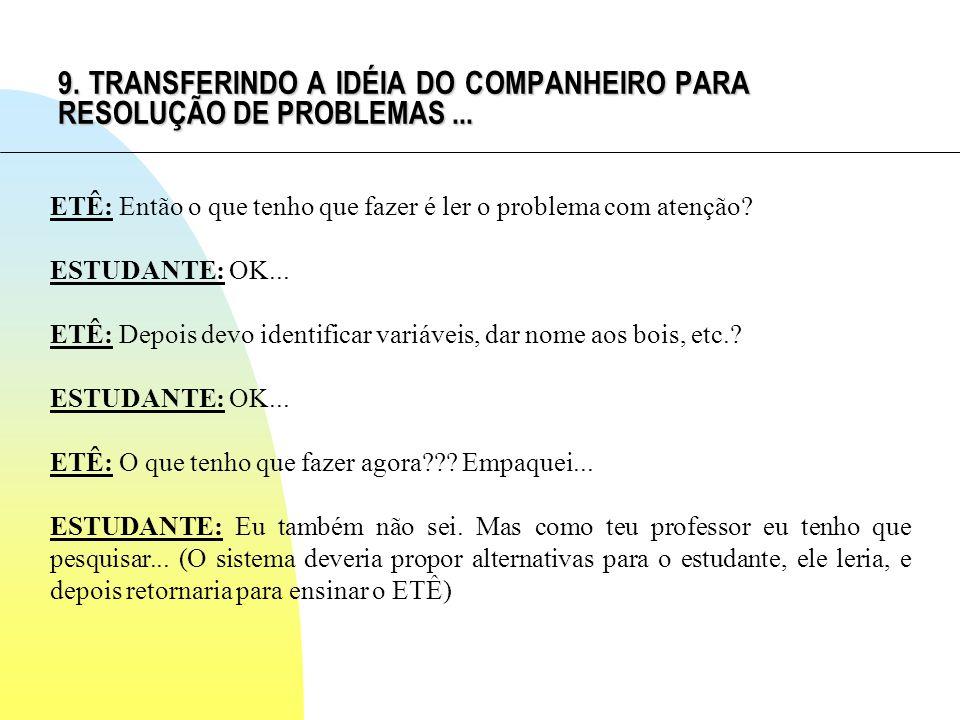 9. TRANSFERINDO A IDÉIA DO COMPANHEIRO PARA RESOLUÇÃO DE PROBLEMAS...