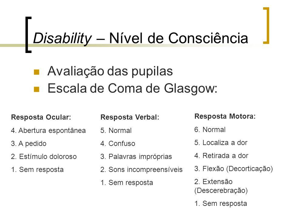 Disability – Nível de Consciência Avaliação das pupilas Escala de Coma de Glasgow: Resposta Ocular: 4. Abertura espontânea 3. A pedido 2. Estímulo dol